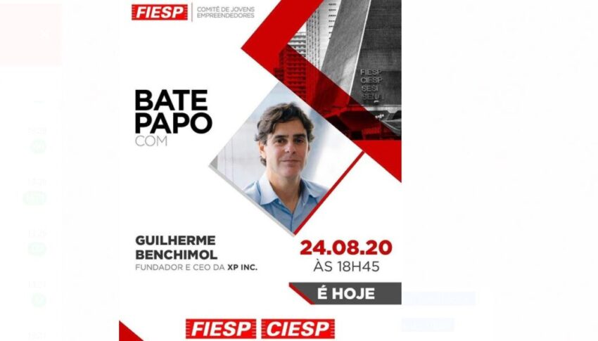 Bate-Papo aberto no Youtube entre Guilherme Benchimol, Fundador e CEO da XP Inc. e os Diretores do CJE acontece hoje as 18h45.